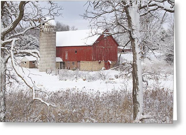 Old Barn In Snow Greeting Card