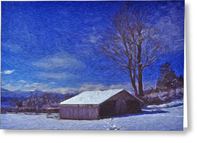 Greeting Card featuring the digital art Old Barn In Winter by Richard Farrington