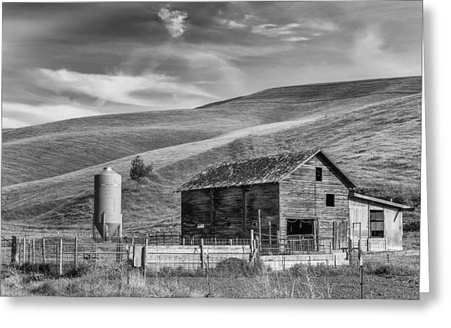 Greeting Card featuring the photograph Old Barn Monochrome by Chris McKenna