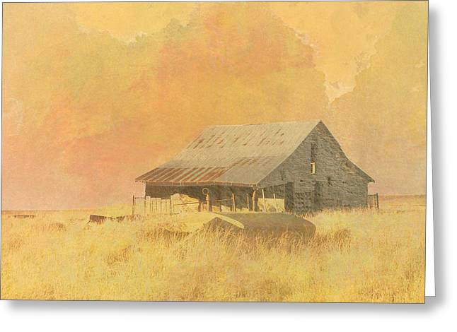 Old Barn On The Prairie Greeting Card by Ann Powell