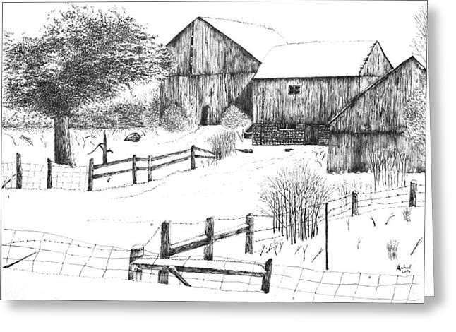 Old Barn Greeting Card by Rahul Jain