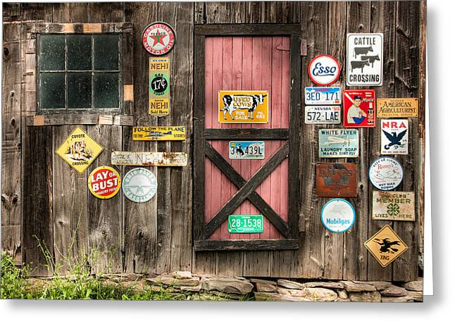 Old Barn Signs - Door And Window - Shadow Play Greeting Card by Gary Heller