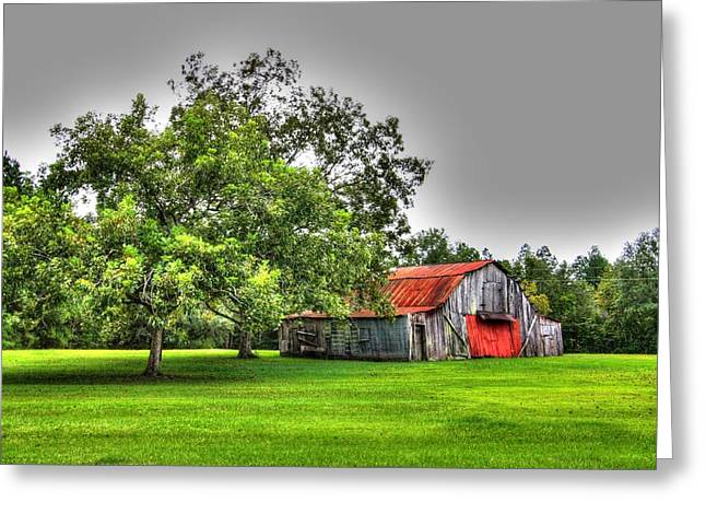 Greeting Card featuring the photograph Old Barn With Red Door by Lanita Williams