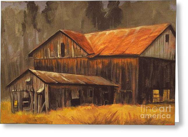 Greeting Card featuring the painting Old Barns by Carol Hart