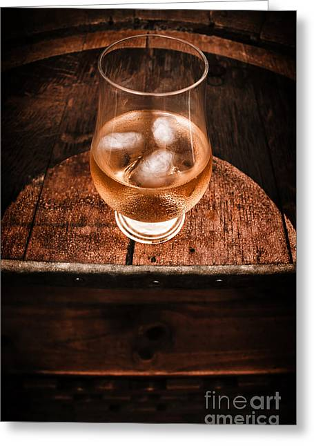 Old Barrel Top Glass Of Hard Liquor Greeting Card by Jorgo Photography - Wall Art Gallery