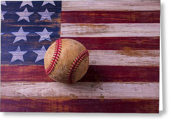 Old Baseball On American Flag Greeting Card by Garry Gay
