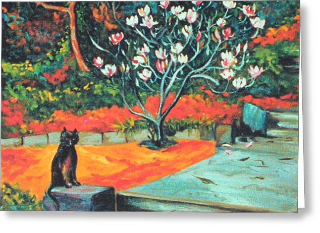 Old Bear Cat And Blooming Magnolia Tree Greeting Card by Asha Carolyn Young