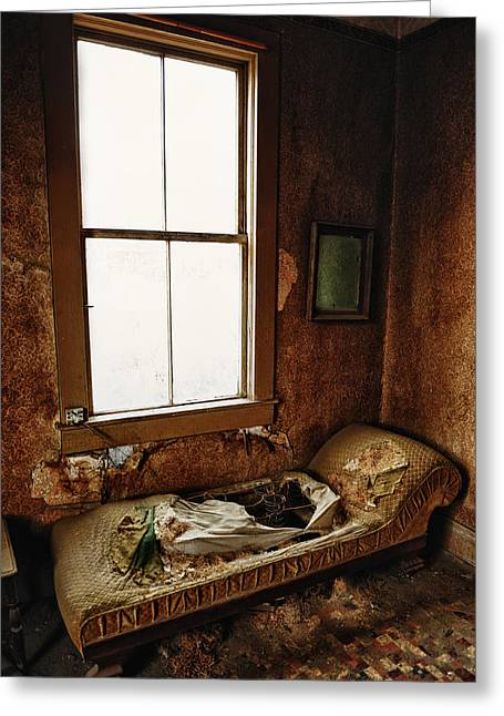 Old Bedroom Chaise In Abandoned Mining Town Home Greeting Card