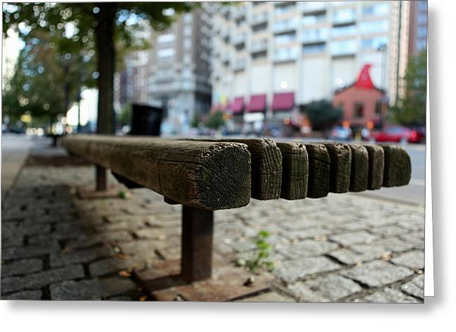 Greeting Card featuring the photograph Old Bench In Philadelphia by Dorin Adrian Berbier