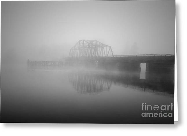 Old Berkley Dighton Bridge Bw Greeting Card