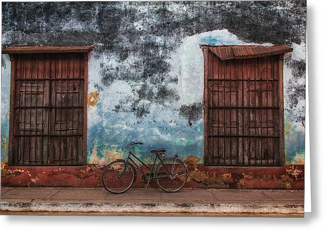 Old Bike And Grunge Wall Greeting Card