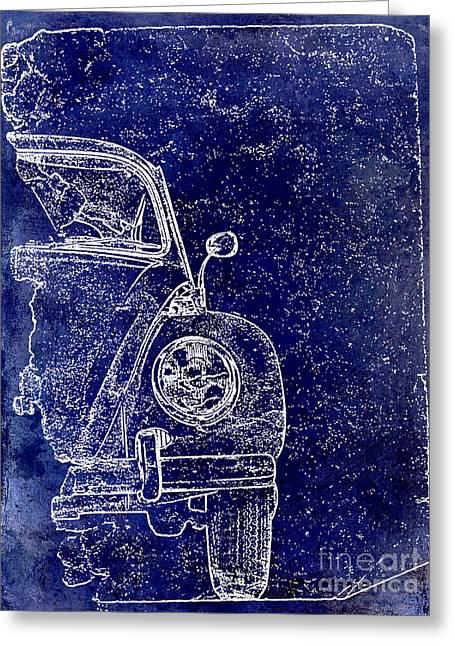 Old Blue Beetle Greeting Card