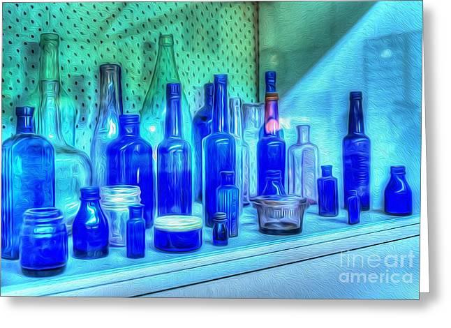 Old Blue Bottles Greeting Card by Kaye Menner