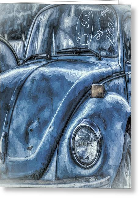 Old Blue Bug Greeting Card