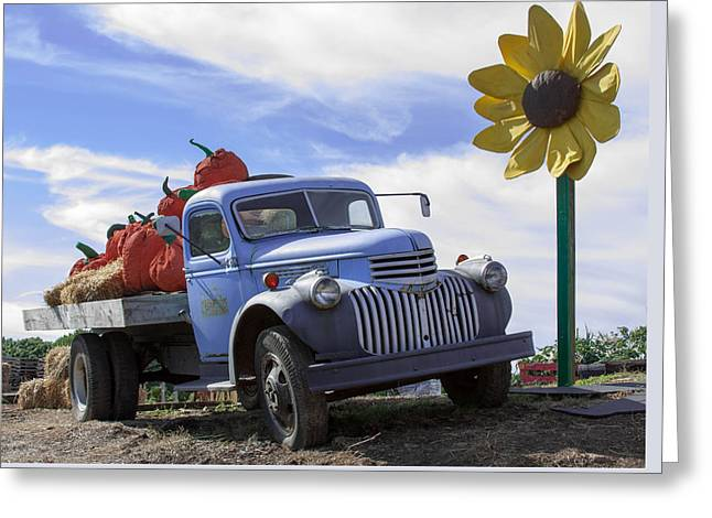Greeting Card featuring the photograph Old Blue Farm Truck  by Patrice Zinck