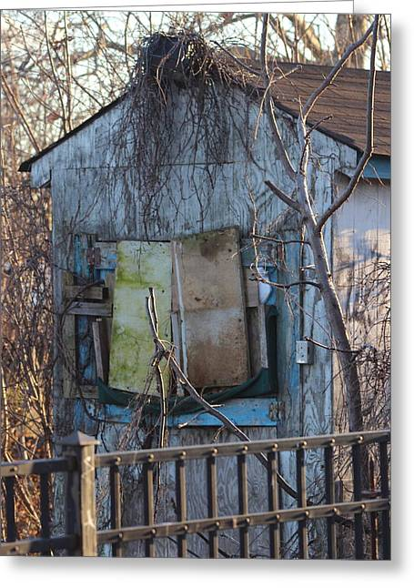 Old Blue Shack Greeting Card by Tom Gari Gallery-Three-Photography