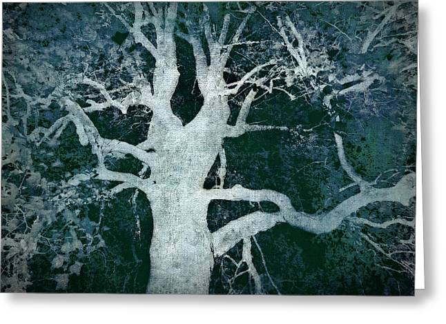 Old Blue Tree Greeting Card