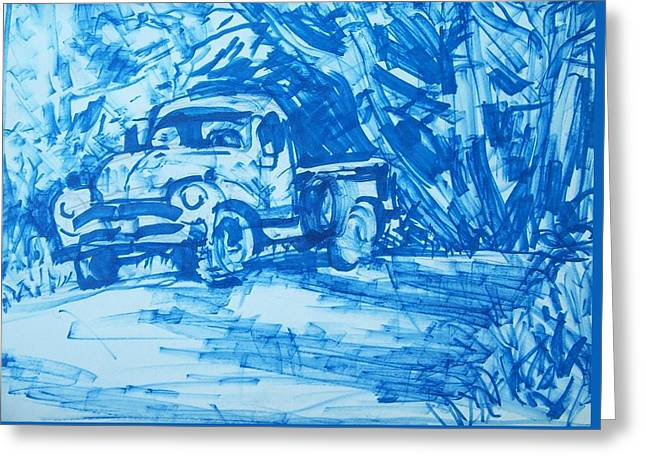 Old Blue Truck Greeting Card