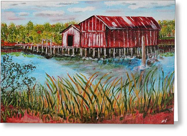 Old Boat House On Causeway Greeting Card by Melvin Turner