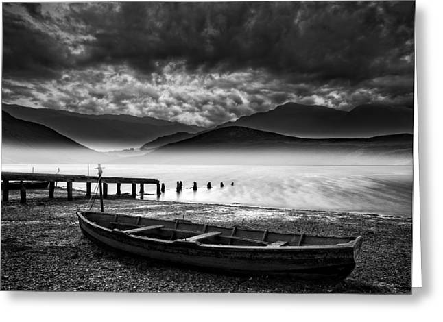 Old Boat On Lake Of Shore With Misty Lake And Mountains Landscap Greeting Card