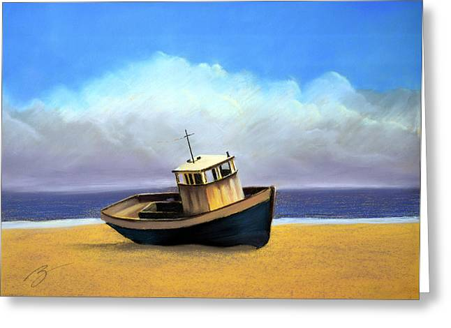 Old Boat - Pastel Greeting Card