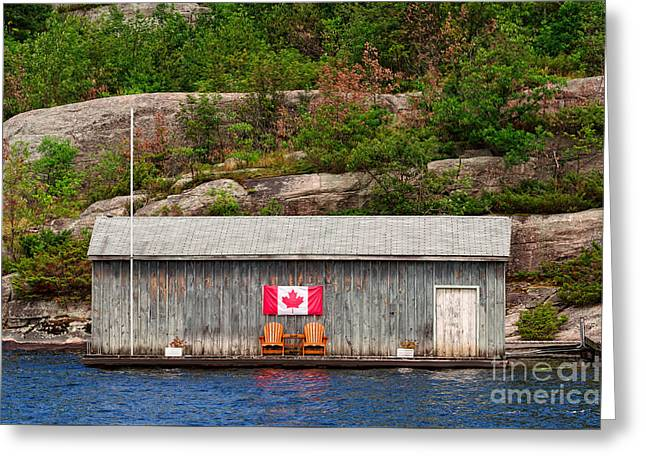 Old Boathouse With Two Muskoka Chairs Greeting Card by Les Palenik