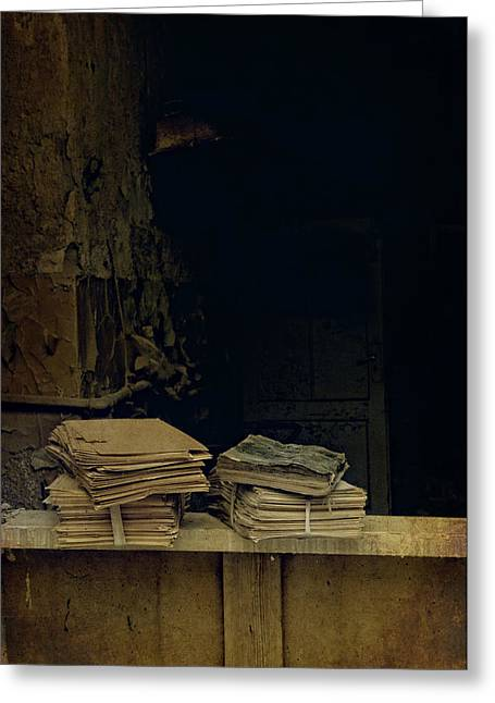 Old Books Greeting Card by Jaroslaw Blaminsky