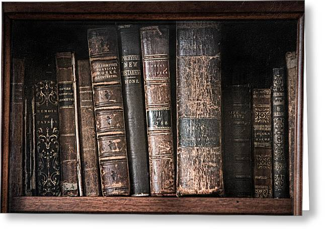 Old Books On The Shelf - 19th Century Library Greeting Card by Gary Heller