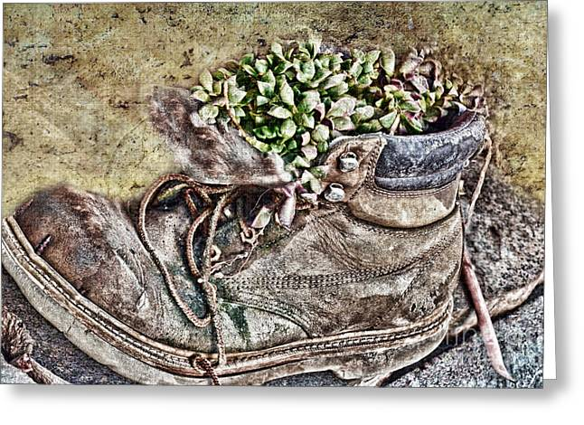 Old Boot Flowerpot Greeting Card