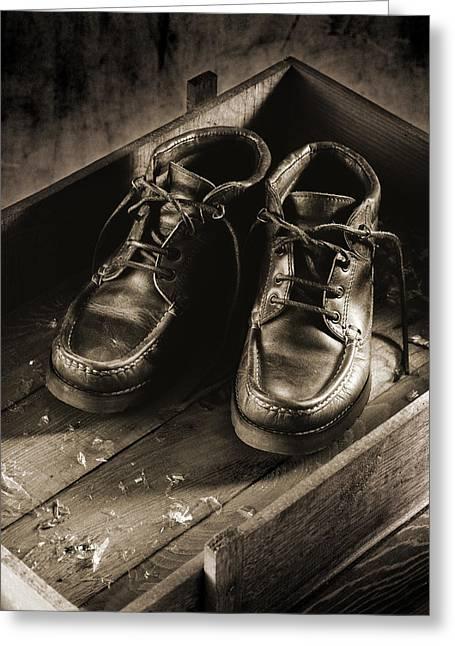 Old Boots Greeting Card by Daniel Sanchez Blasco
