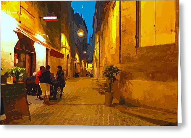 Old Bordeaux By Night Greeting Card by Bishopston Fine Art