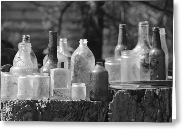 Old Bottles Greeting Card by Sarah Klessig