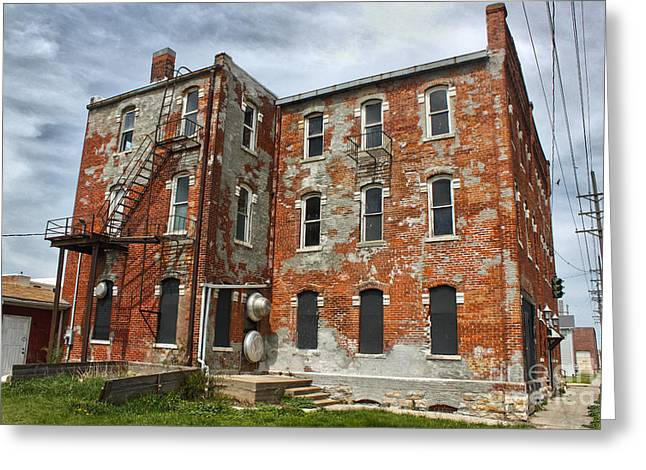 Old Brick Building In Downtown Montezuma Iowa - 02 Greeting Card by Gregory Dyer