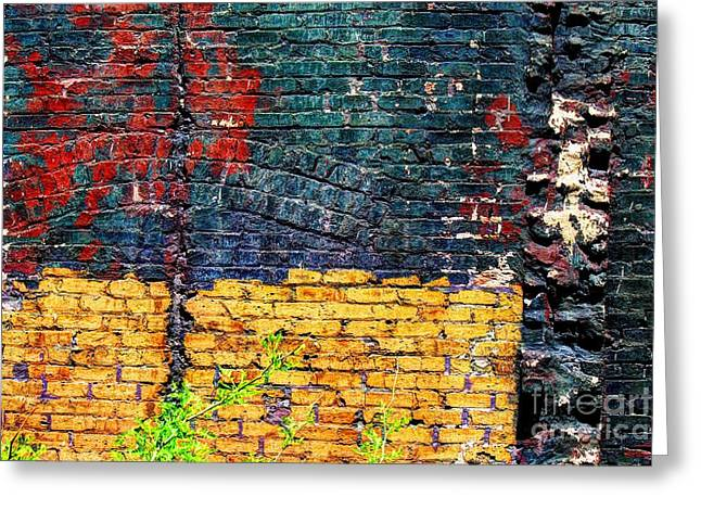Old Brick Wall Greeting Card by Jim Wright