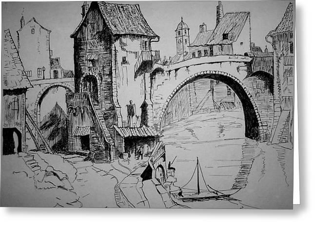 Old Bridge Greeting Card by Maxwell Mandell