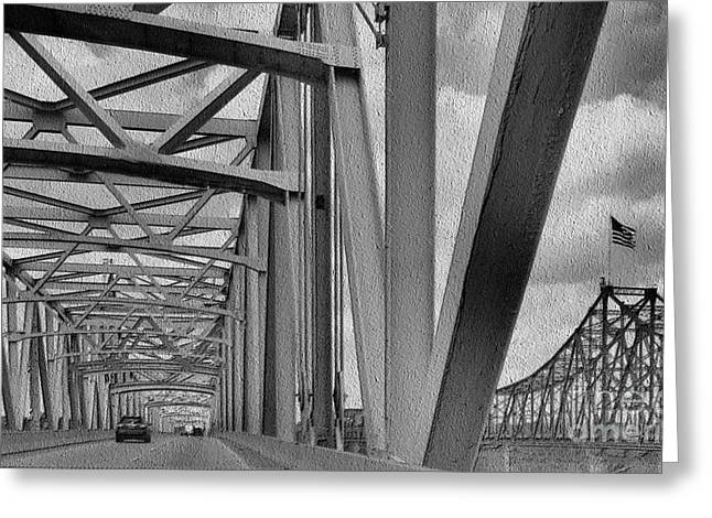 Greeting Card featuring the photograph Old Bridge New Bridge by Janette Boyd