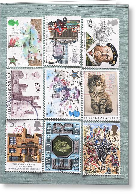 Old British Postage Stamps Greeting Card by Jan Bickerton