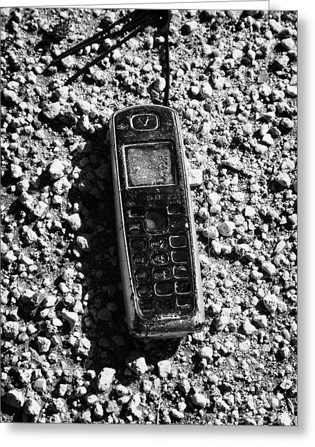 Old Broken Smashed Thrown Away Cheap Cordless Phone Usa Greeting Card by Joe Fox