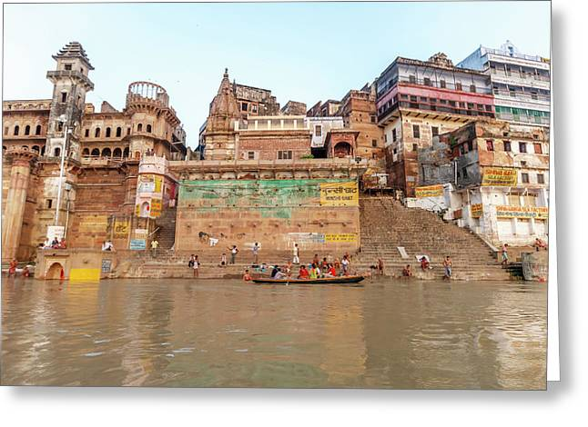 Old Buildings By The Ganges River Greeting Card