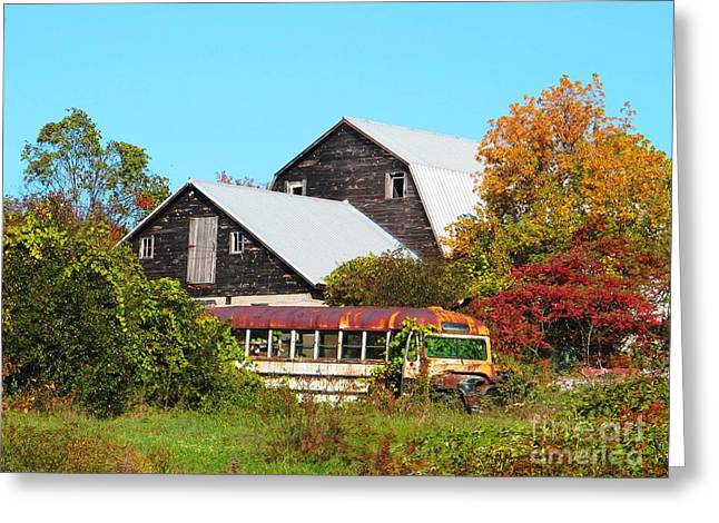 Old Bus And Barns Greeting Card by Linda Marcille