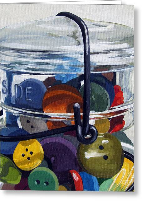 Old Button Jar Greeting Card by Linda Apple