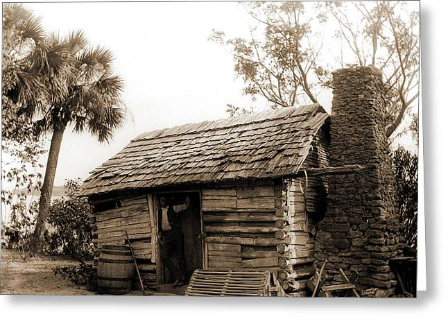 Old Cabin At Turkey Creek, Log Cabins, African Americans Greeting Card by Litz Collection