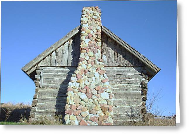 Greeting Card featuring the photograph Old Cabin Chimney by J L Zarek
