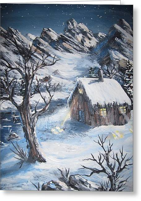 Greeting Card featuring the painting Old Cabin by Megan Walsh