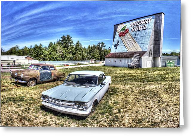 Old Cars At The Drive-in Greeting Card by Twenty Two North Photography