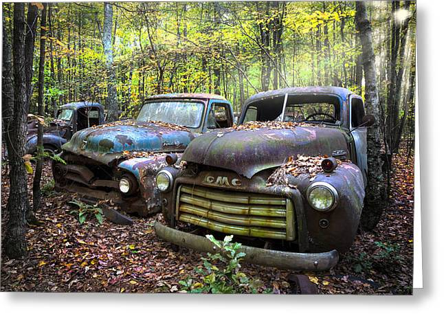 Old Cars Greeting Card by Debra and Dave Vanderlaan