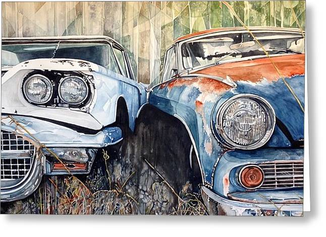 Old Cars Greeting Card by Lance Wurst