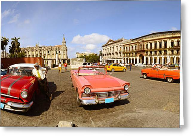 Old Cars On Street, Havana, Cuba Greeting Card by Panoramic Images