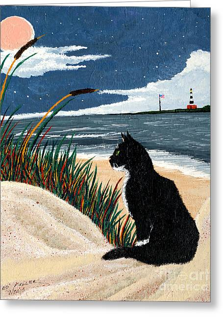 Old Cat And The Sea Greeting Card by Edward Fuller