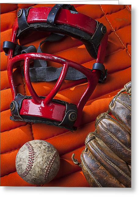 Old Catcher Mask Greeting Card